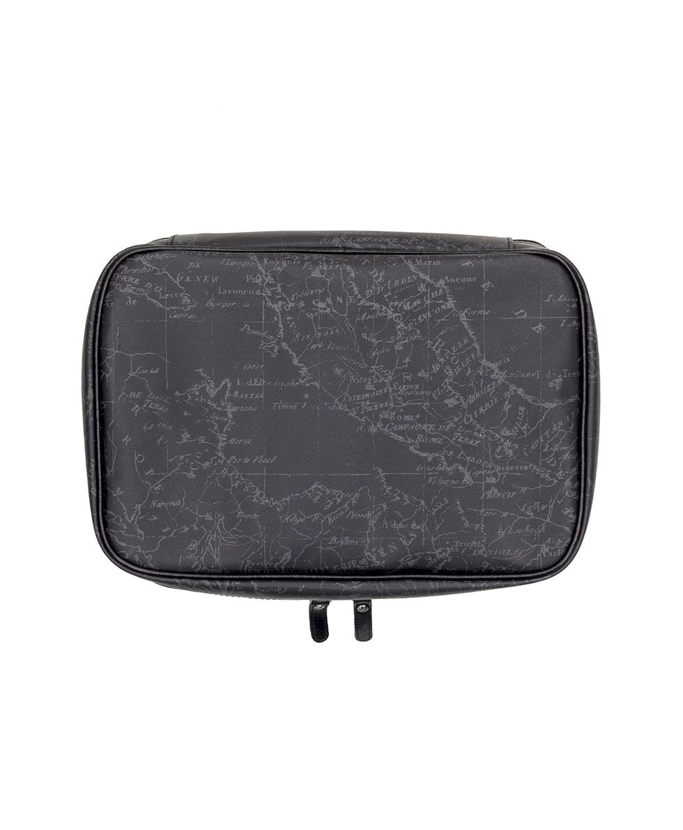 Ilaria Hanging Travel Case - Patina Coated Linen Canvas Black Map 2