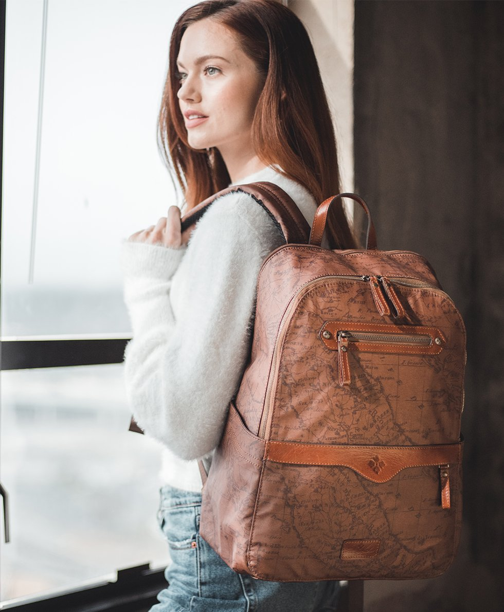 Karina Backpack - Patina Coated Canvas Signature Map 5