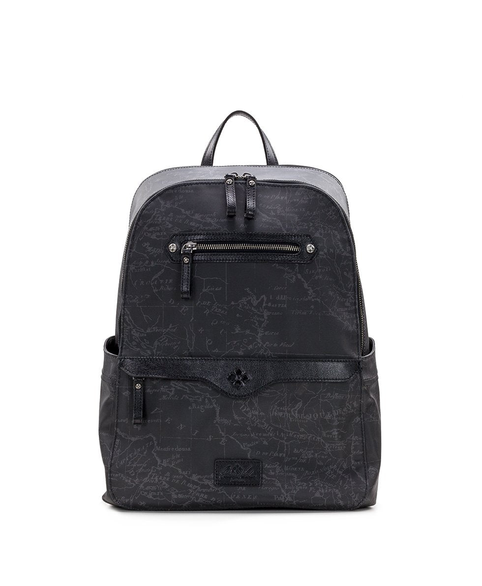 Karina Backpack - Patina Coated Canvas Black Map