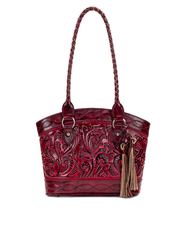 Zorita Satchel - Burnished Tooled - Berry Red