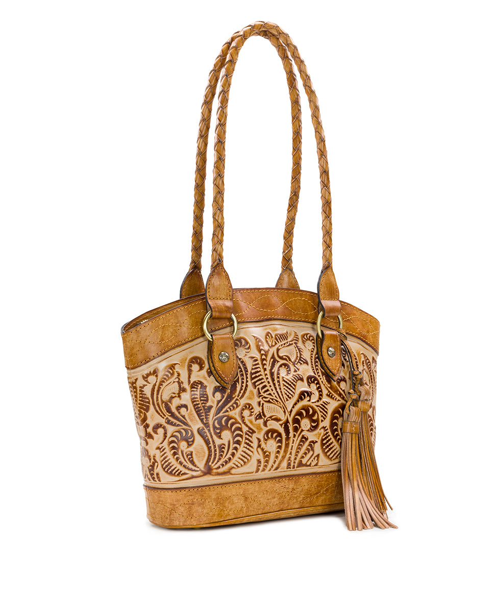 Zorita Satchel - Burnished Tooled - Sand