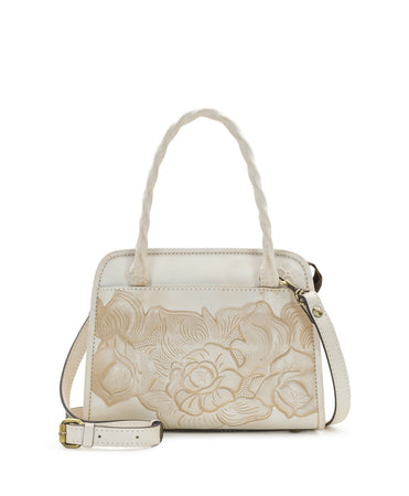 Paris Small Satchel - White Waxed Tooled - Paris Small Satchel - White Waxed Tooled