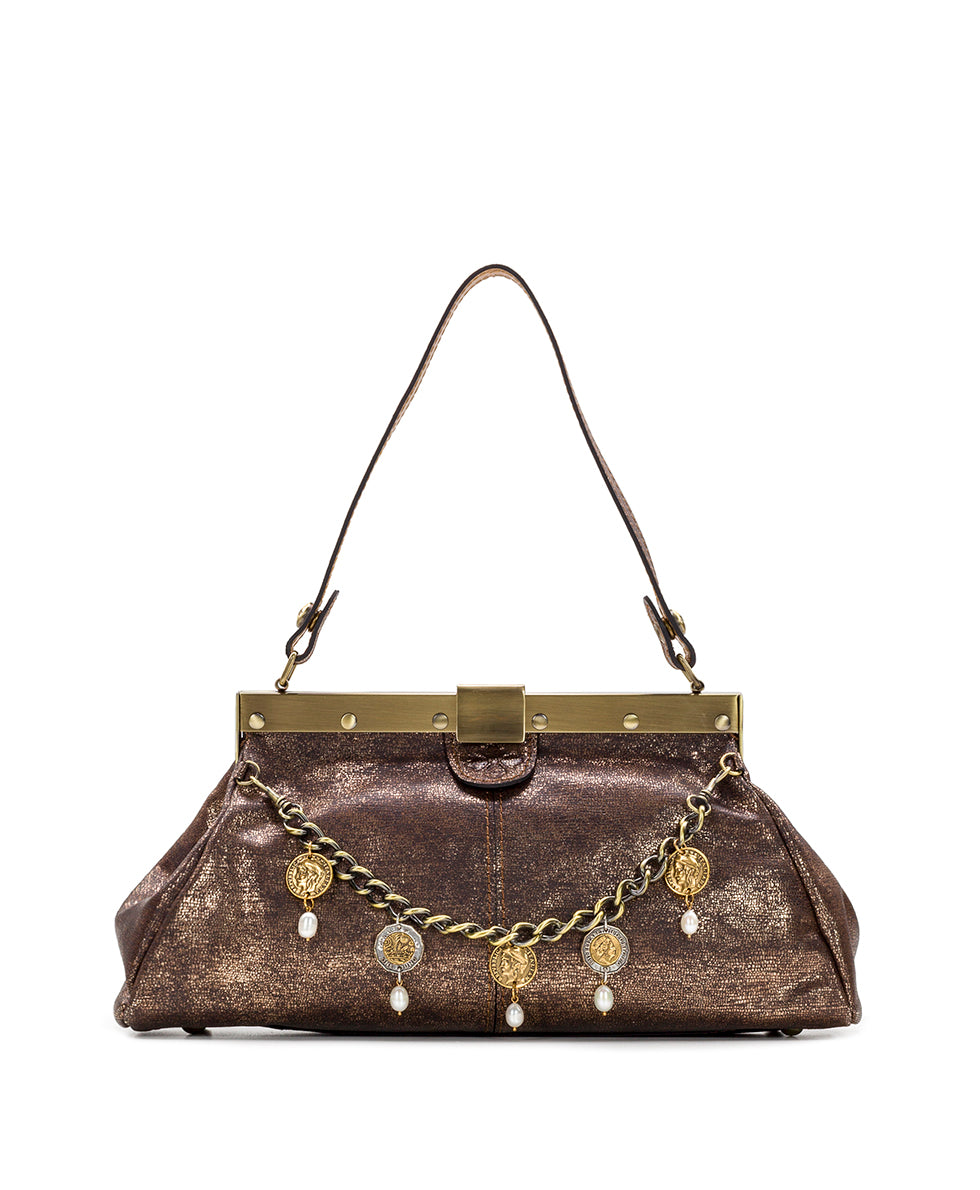 Ferrara Frame Satchel - Metallic Exotic Lizard