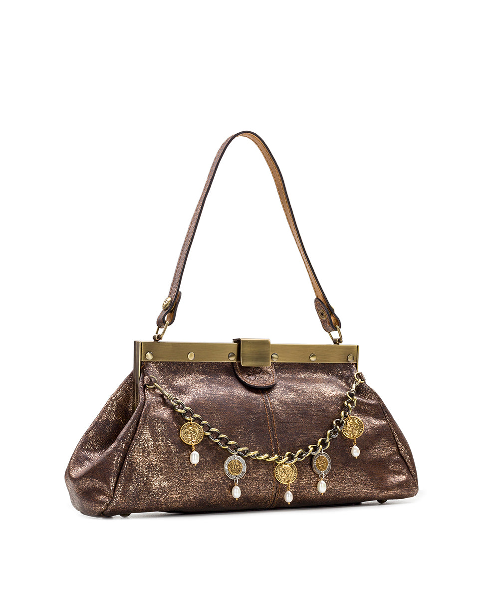Ferrara Frame Satchel - Metallic Exotic Lizard 3