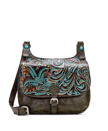 London Saddle Bag - Tooled Turquoise - London Saddle Bag - Tooled Turquoise