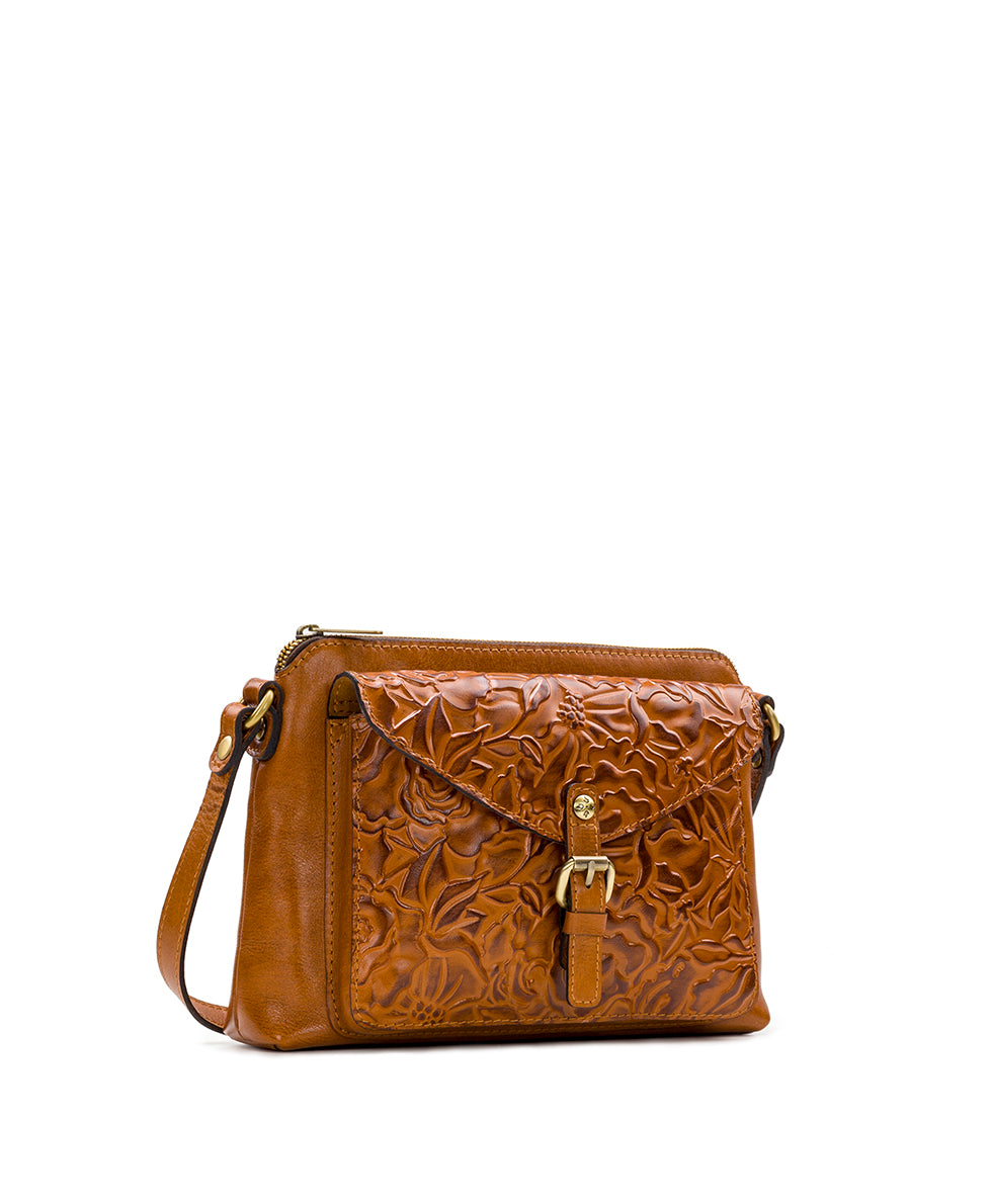 Avellino Crossbody - Antique Rose Tooling 3