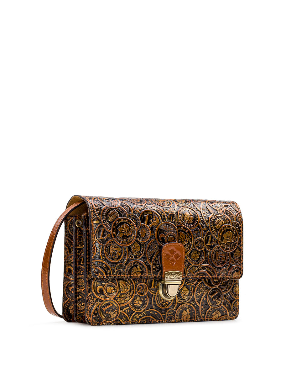 Lanza Crossbody Organizer - Coin Tooled 3