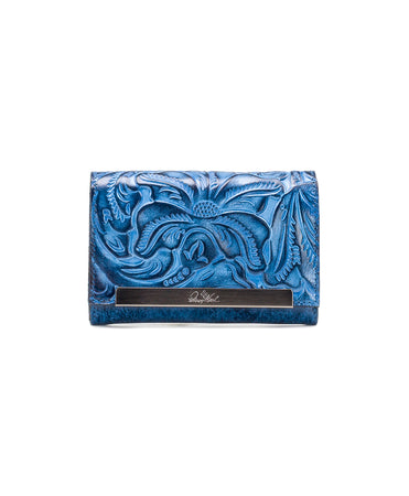 Cametti Wallet - Burnished Tooled - Safflower Blue