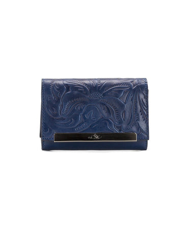 Cametti Wallet - Waxed Tooled - Denim