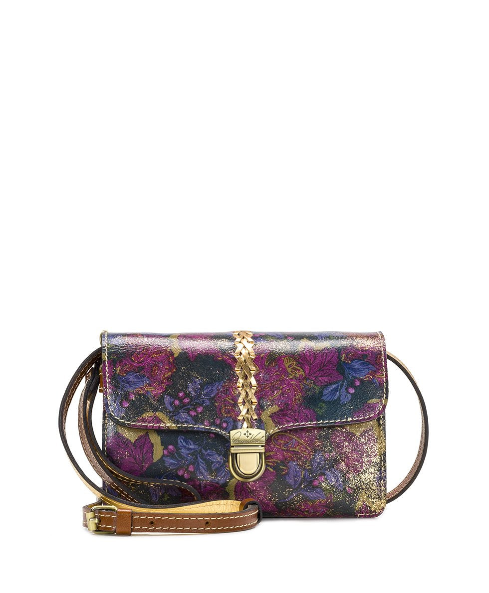 Bianco Crossbody Organizer - Metallic Dusted Paisley