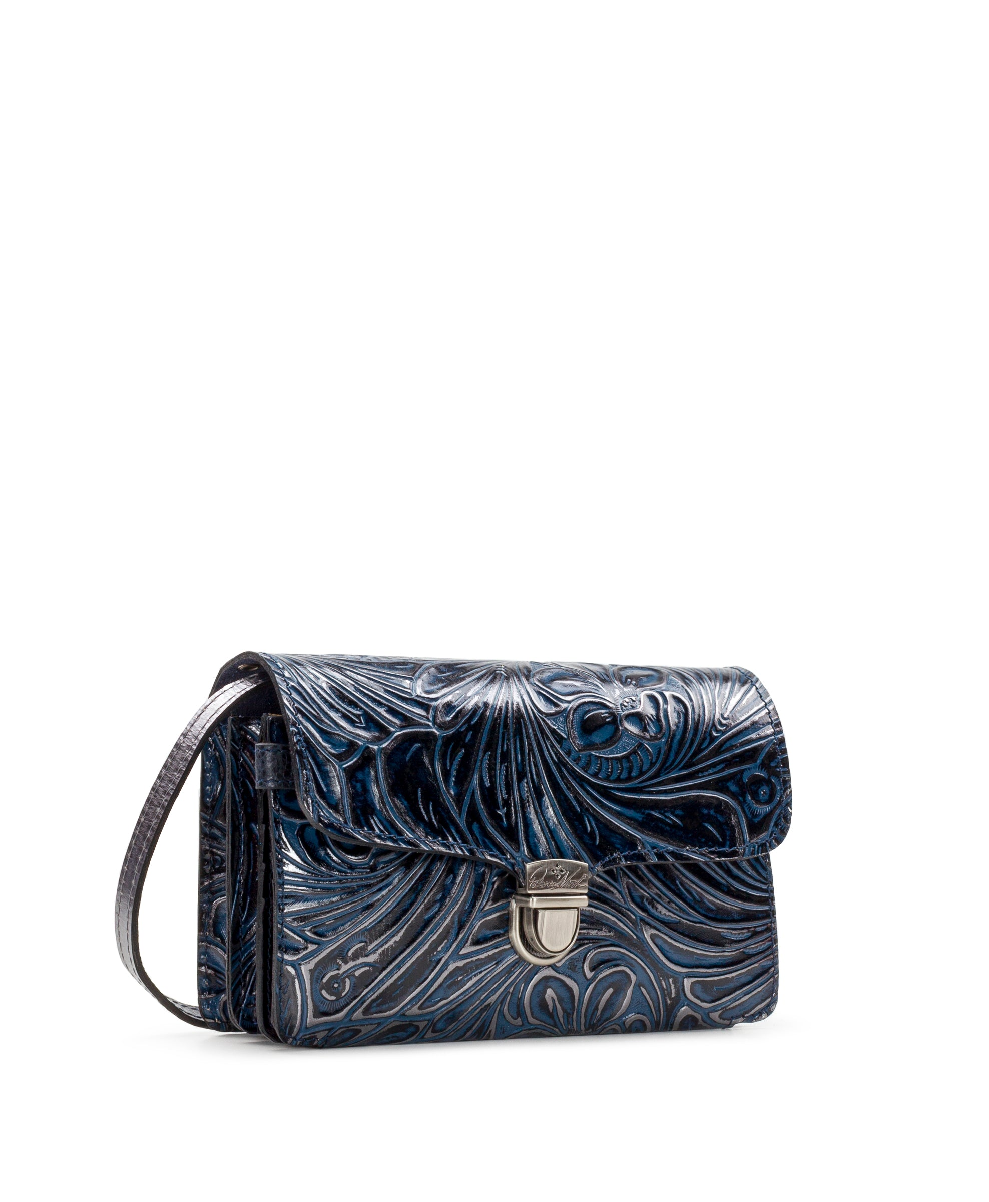 Bianco Crossbody Organizer - Metallic Tobacco Fields Navy 3