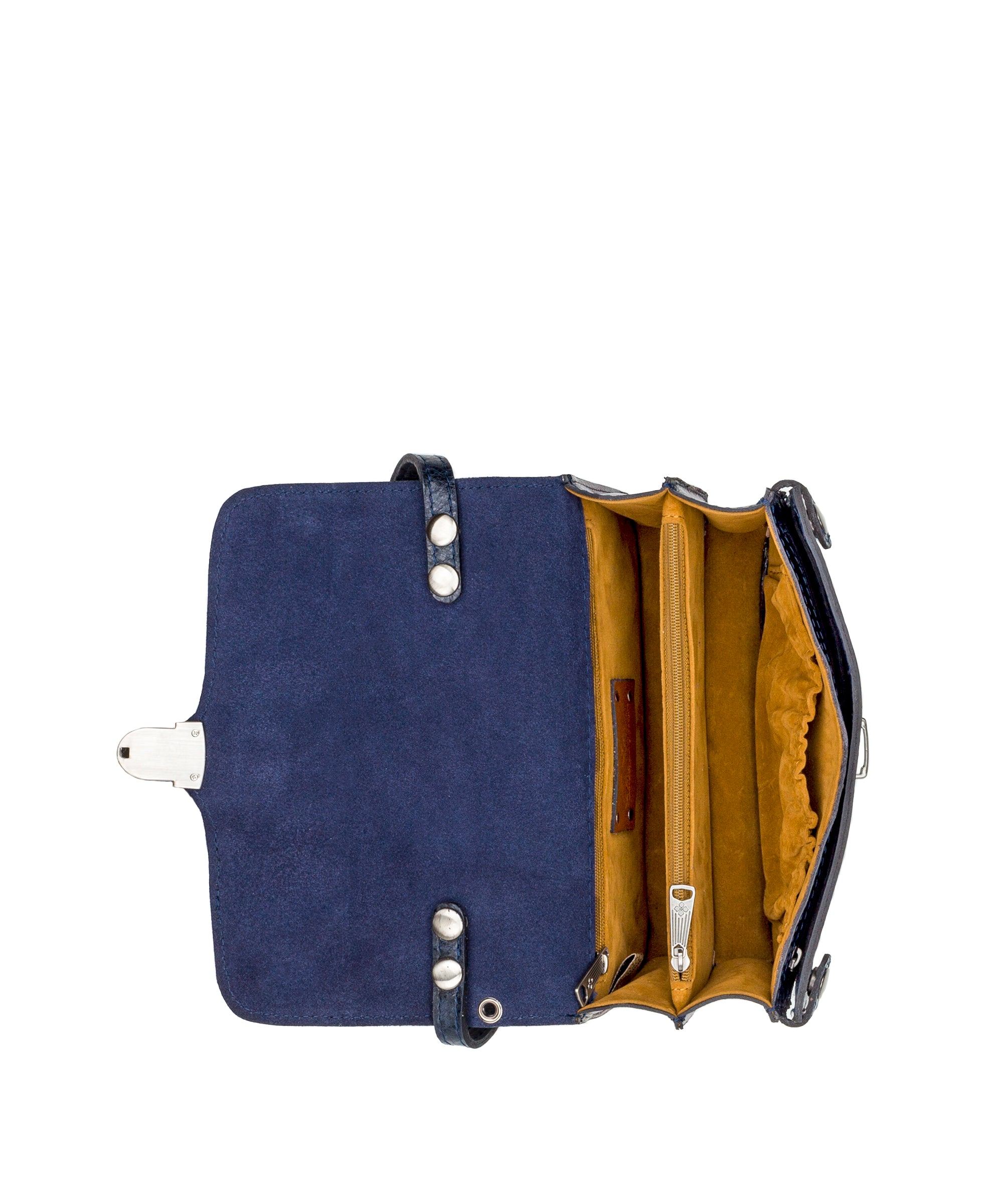 Bianco Crossbody Organizer - Metallic Tobacco Fields Navy 4