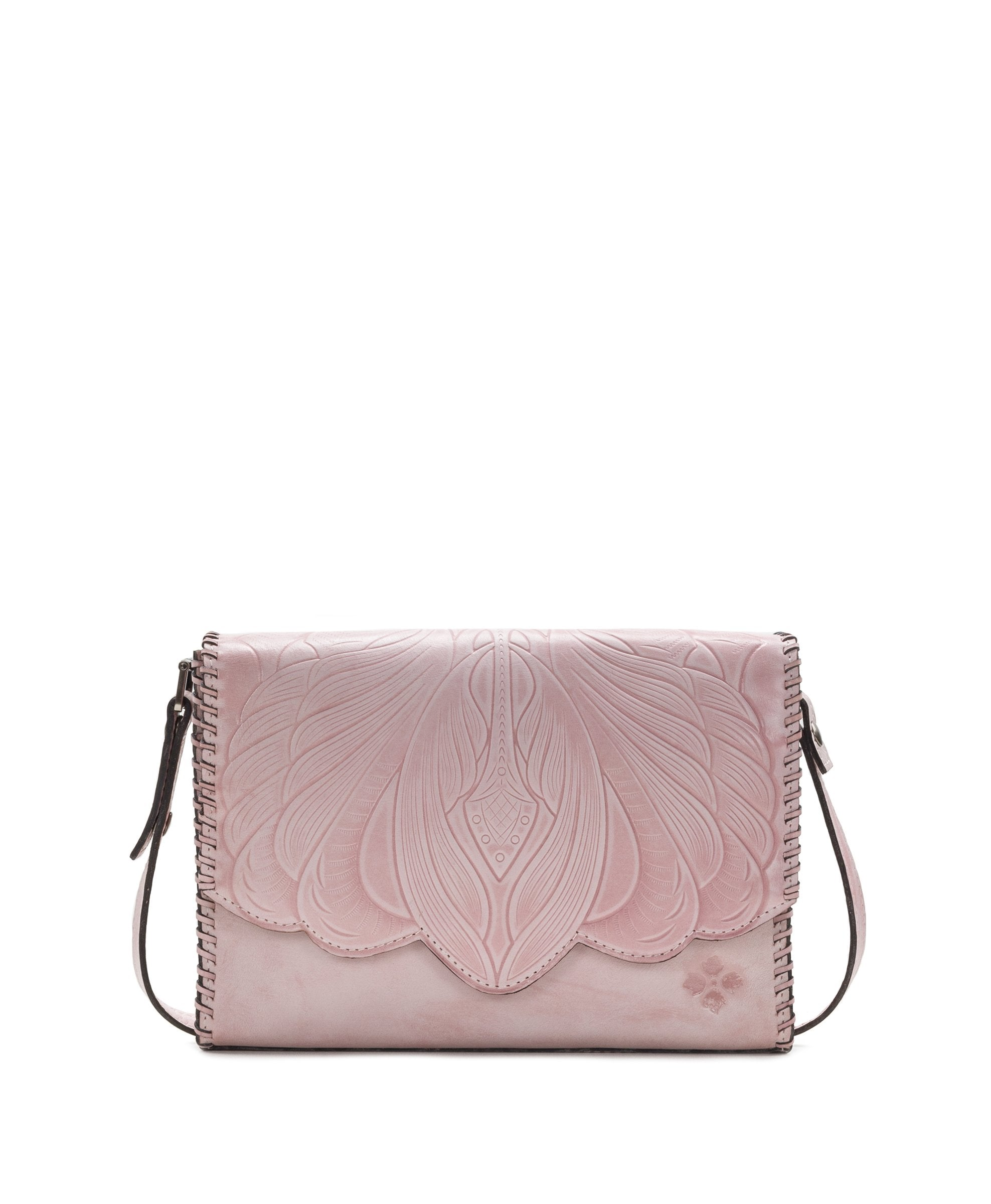 Santillana Flap - White Waxed Tooled - Pink
