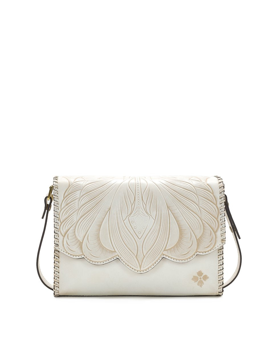 Santillana Flap - White Waxed Tooled - White