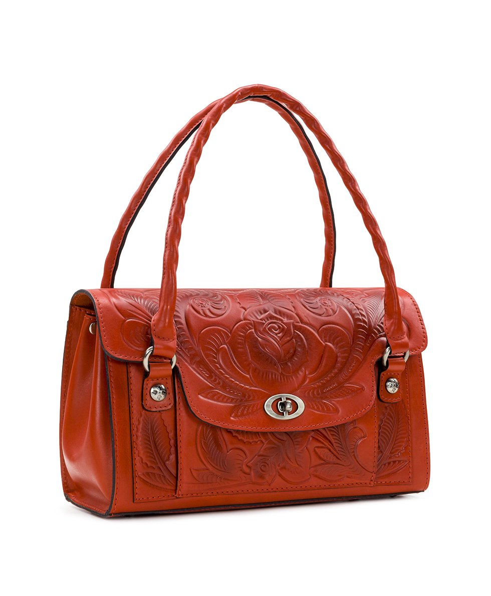 Sanabria Satchel - Waxed Tooled - Orange