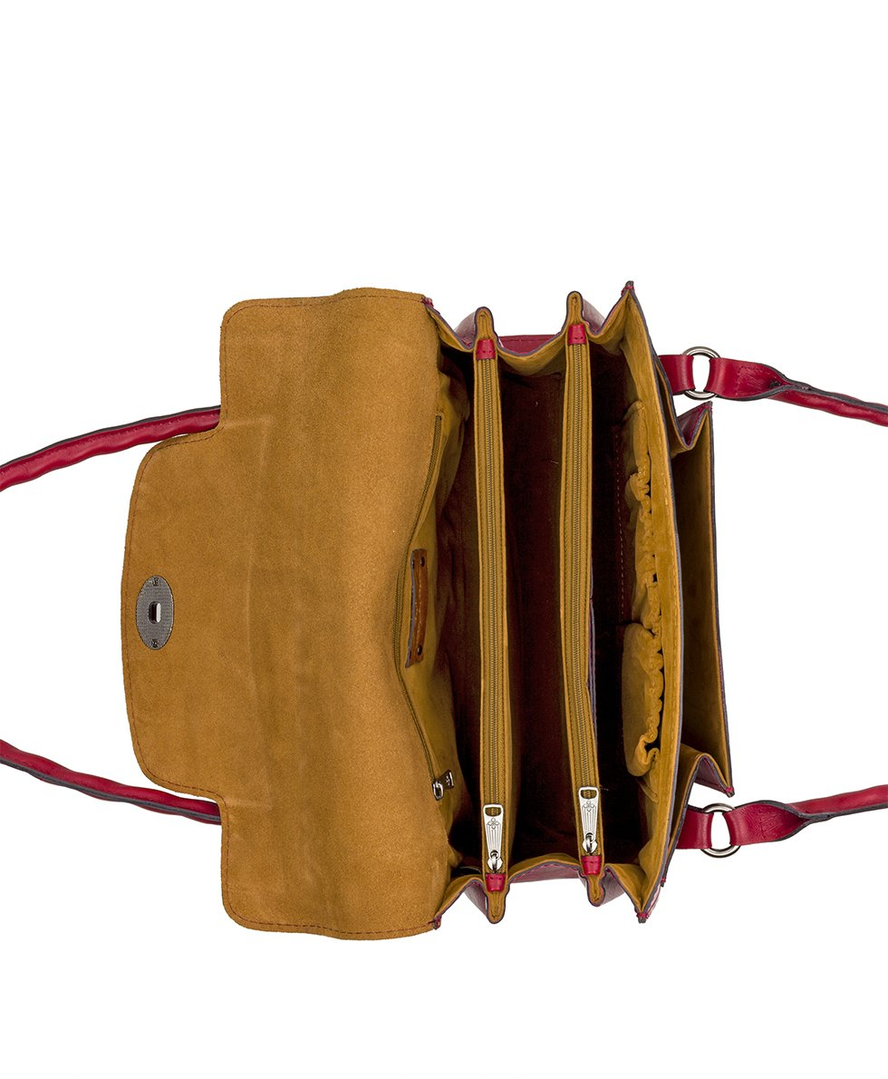 Sanabria Satchel - Waxed Tooled - Red
