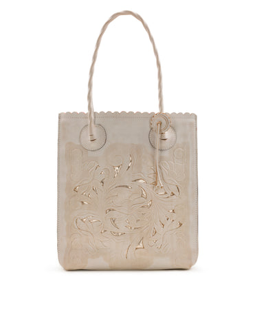 Cavo Tote - White Waxed Tooled - Cavo Tote - White Waxed Tooled