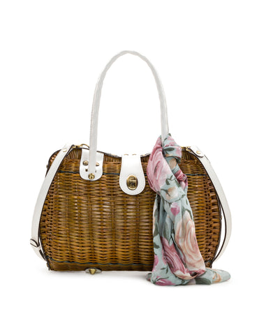 Lucena Frame Satchel - Tan with Crackled Rose Scarf