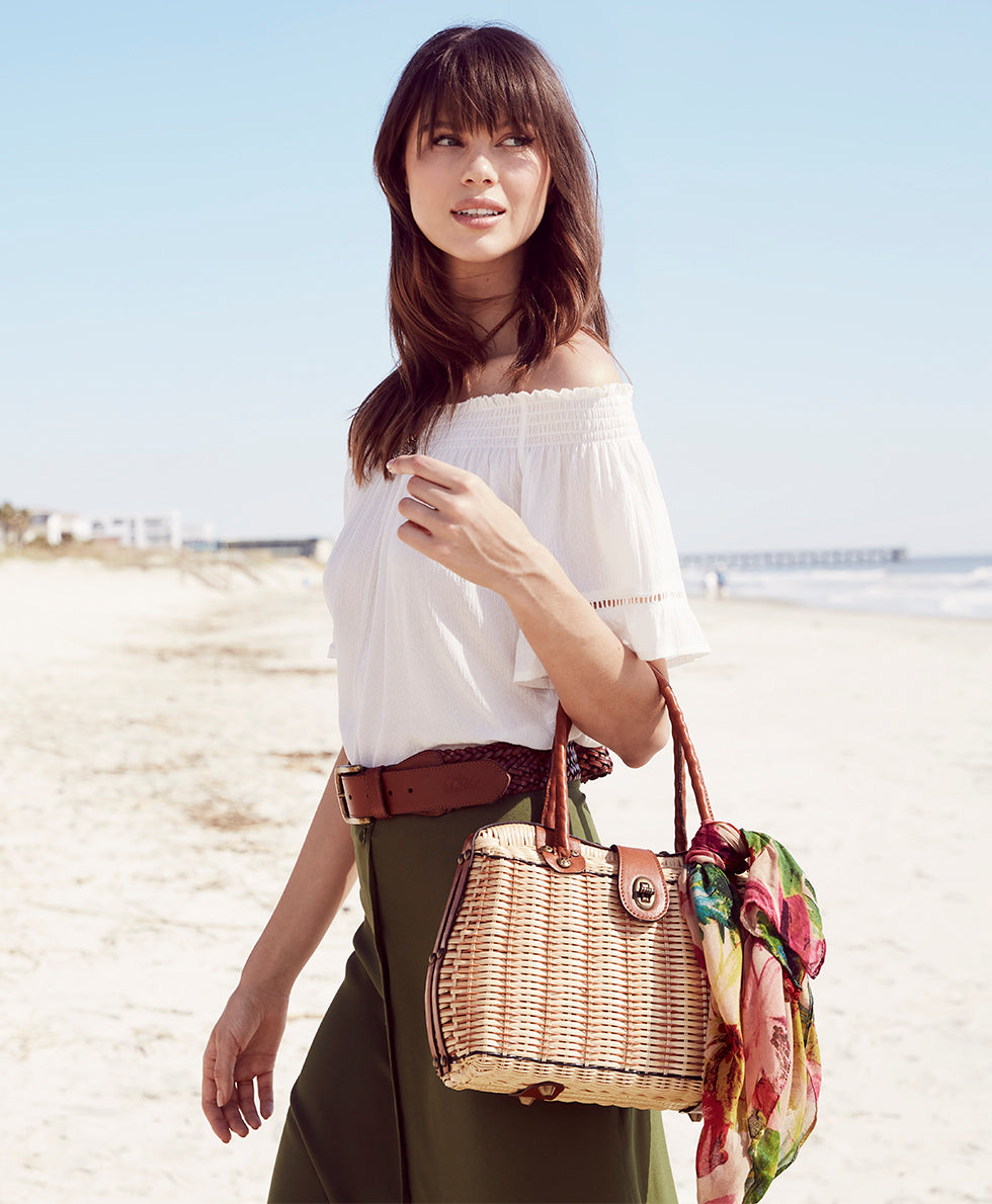 Lucena Frame Satchel - Natural with Spring Multi Scarf 5