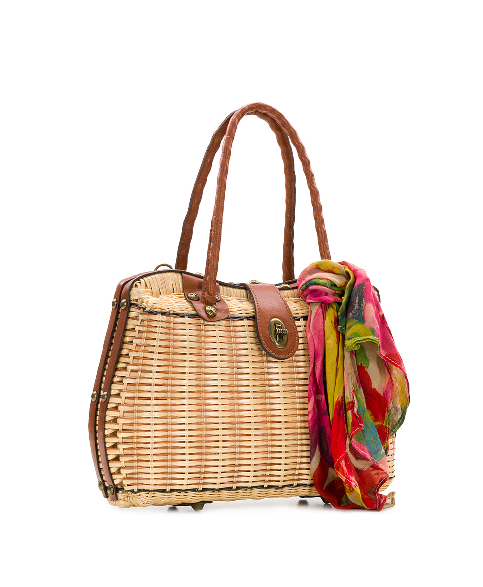 Lucena Frame Satchel - Natural with Spring Multi Scarf 3