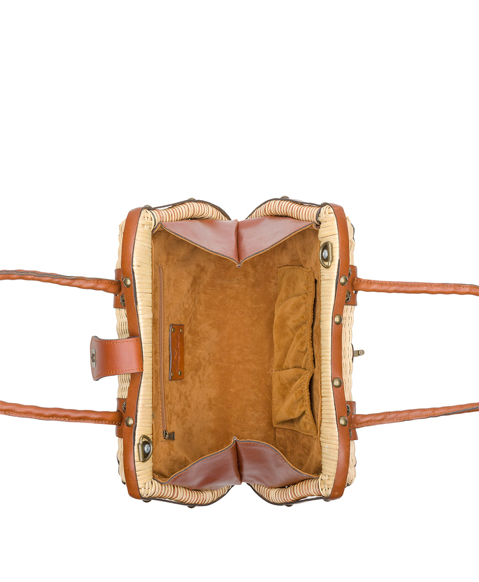 Lucena Frame Satchel - Natural with Spring Multi Scarf 4