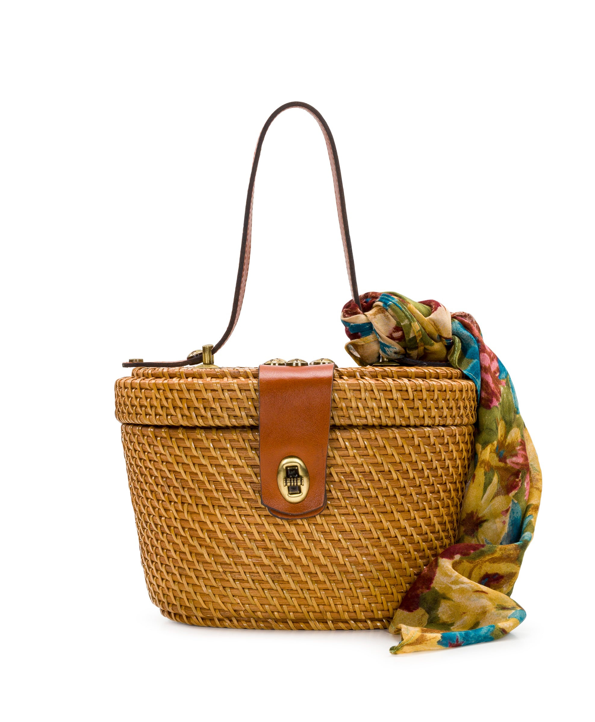 Caselle Basket - Tan & Fresco Bouqet Scarf