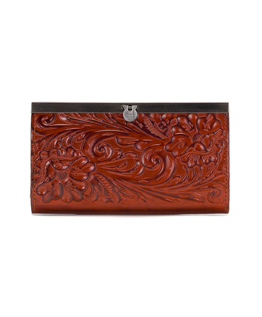 Cauchy Wallet - Burnished Tooled - Burnt Orange