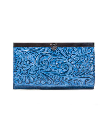 Cauchy Wallet - Burnished Tooled - Safflower Blue