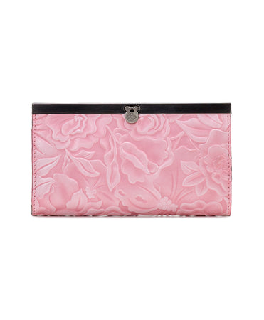 Cauchy Wallet - White Waxed Antique Rose Tooled - Blush