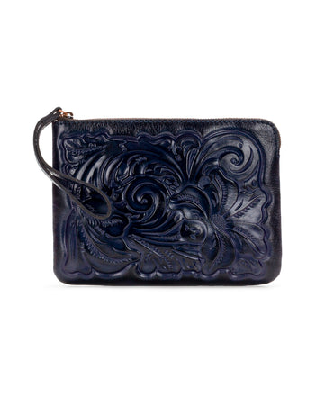 Cassini Wristlet - Burnished Tooled - Navy