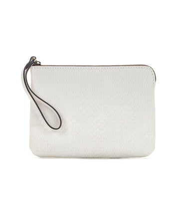 Cassini Wristlet - Twisted Woven Embossed - White