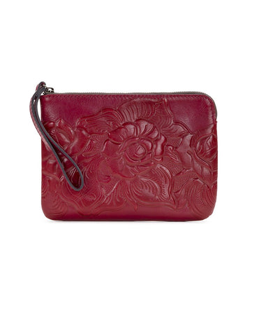 Cassini Wristlet - Waxed Tooled - Red