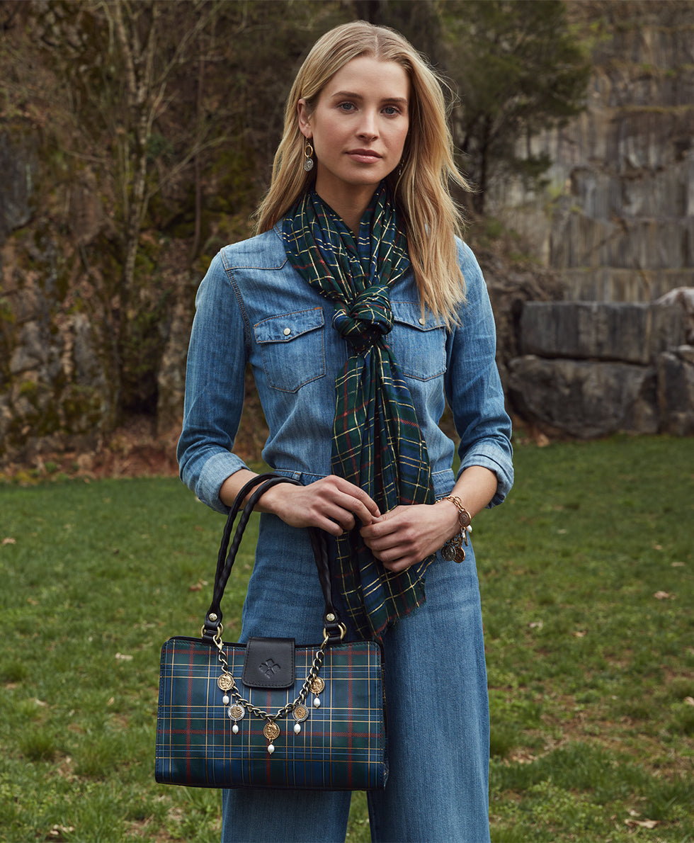 Rienzo Satchel - Blue Green Tartan Plaid 5
