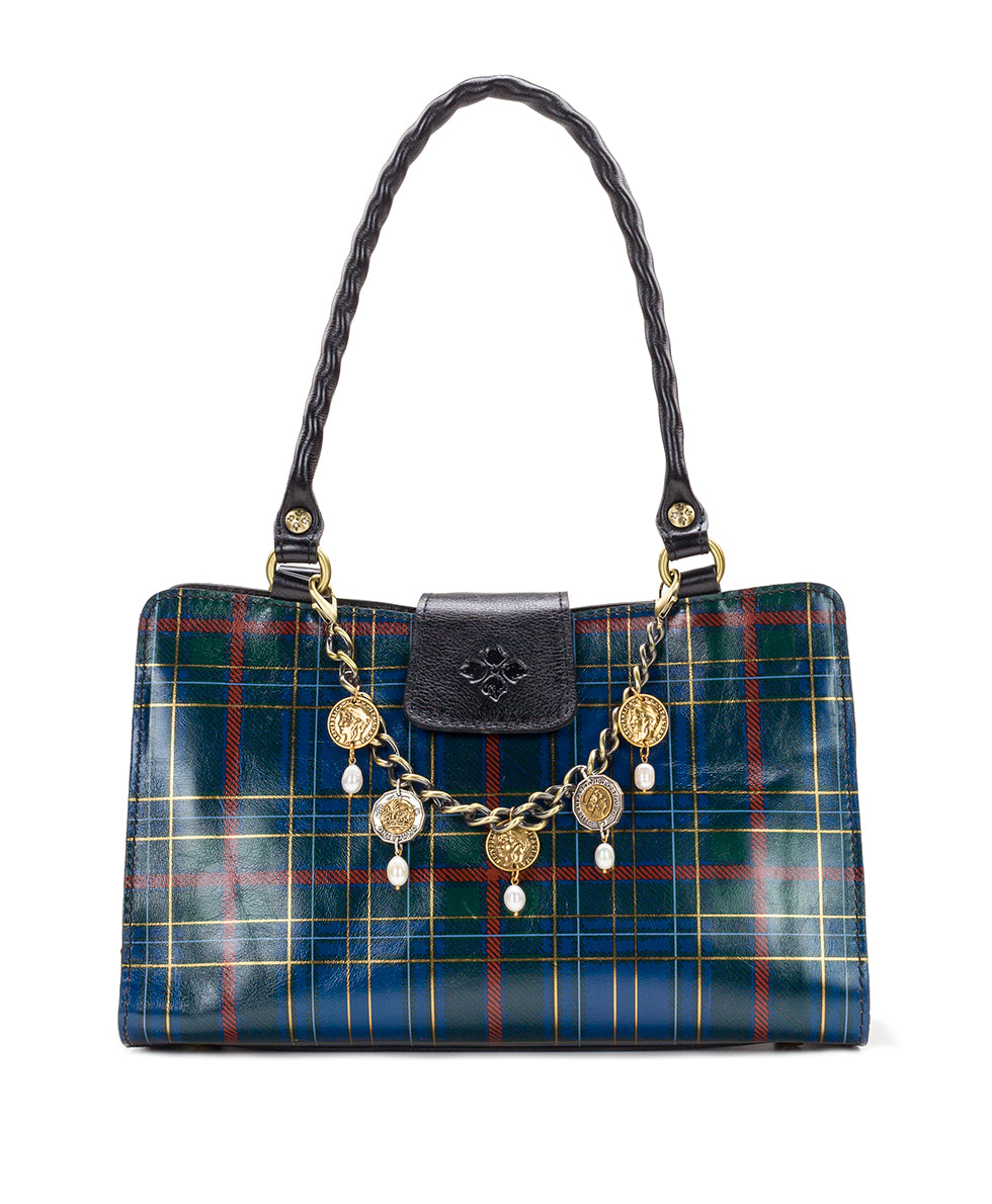 Rienzo Satchel - Blue Green Tartan Plaid