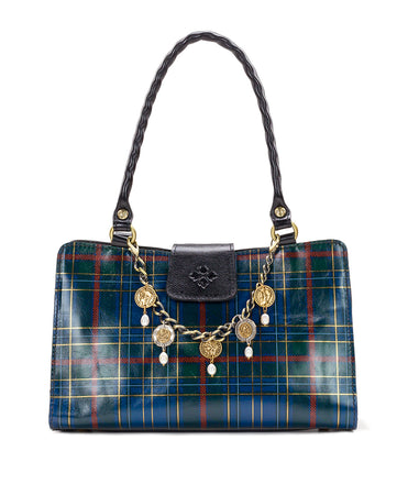 Rienzo Satchel - Blue Green Tartan Plaid - Rienzo Satchel - Blue Green Tartan Plaid