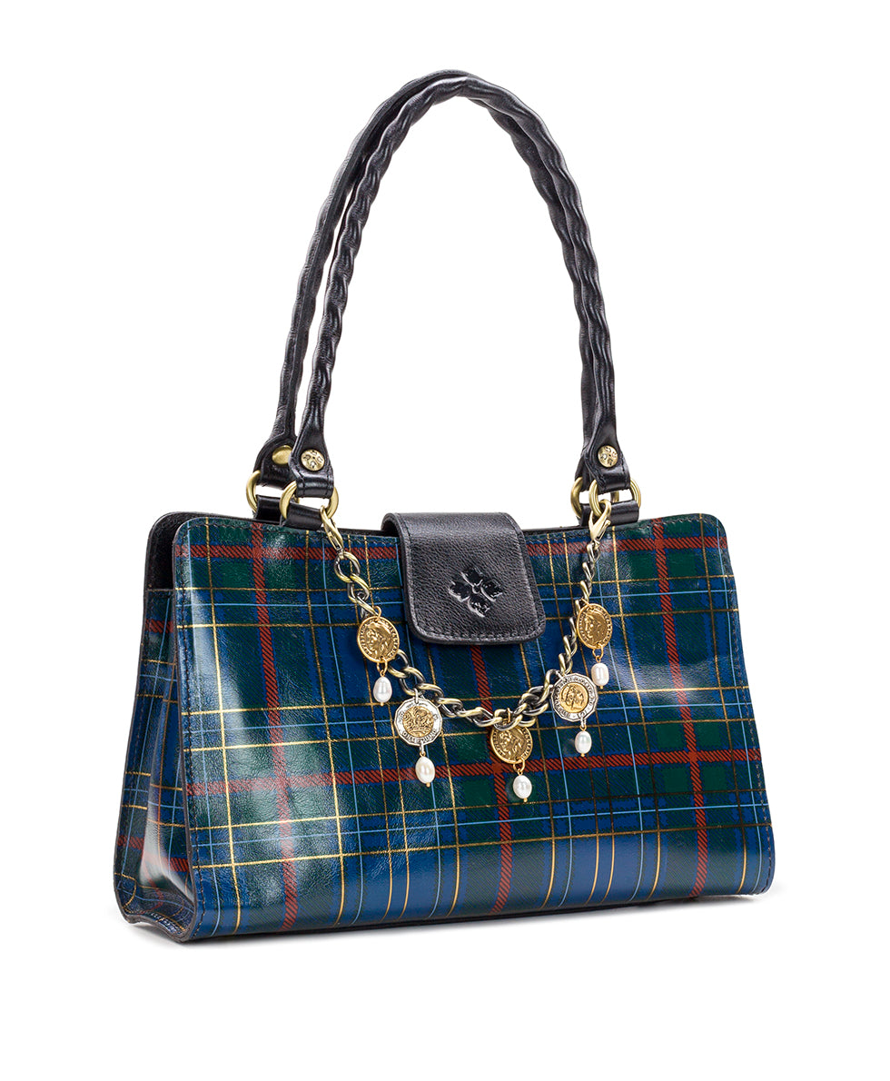 Rienzo Satchel - Blue Green Tartan Plaid 3