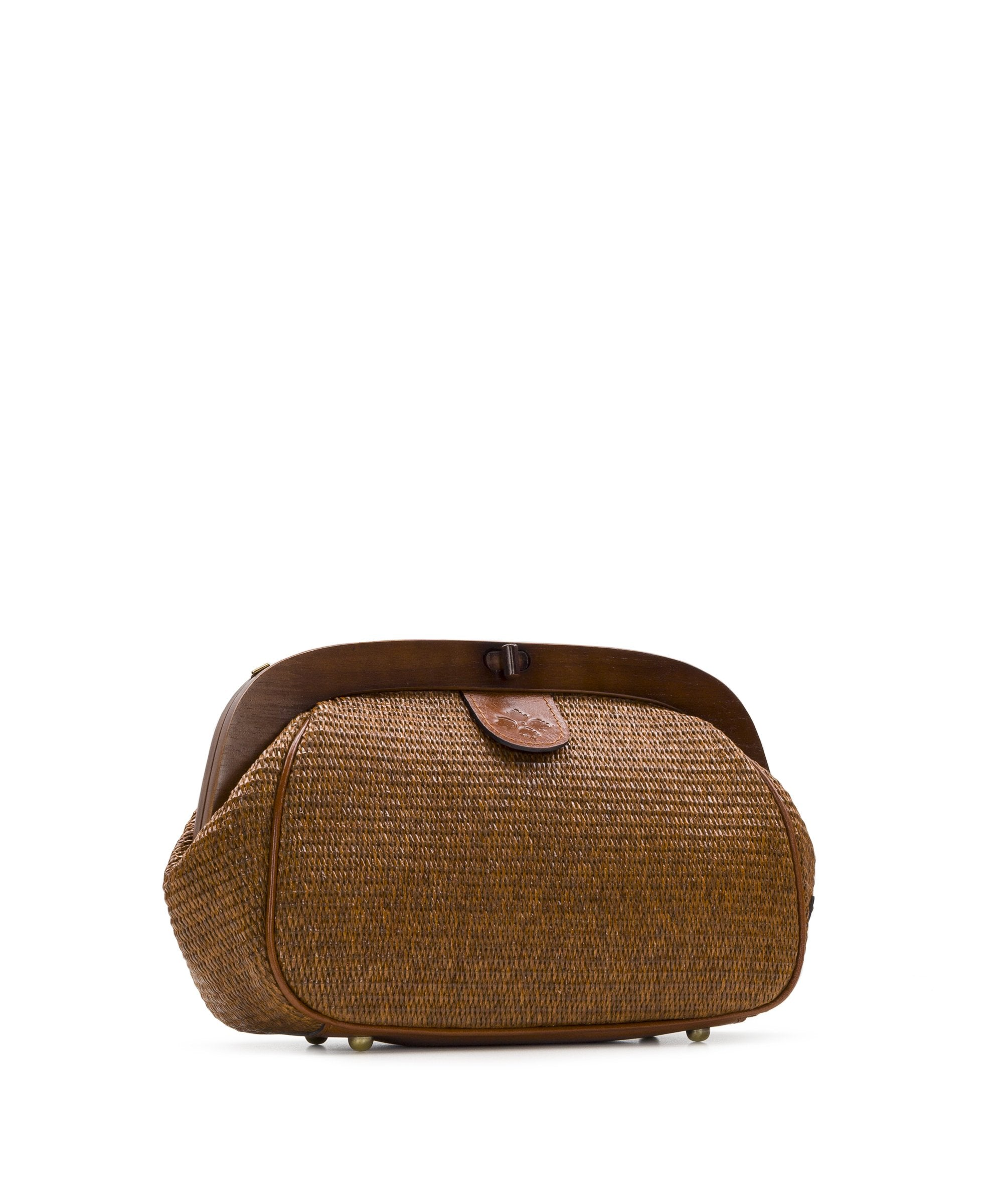 Gracchi Satchel - Raffia Wood Frame