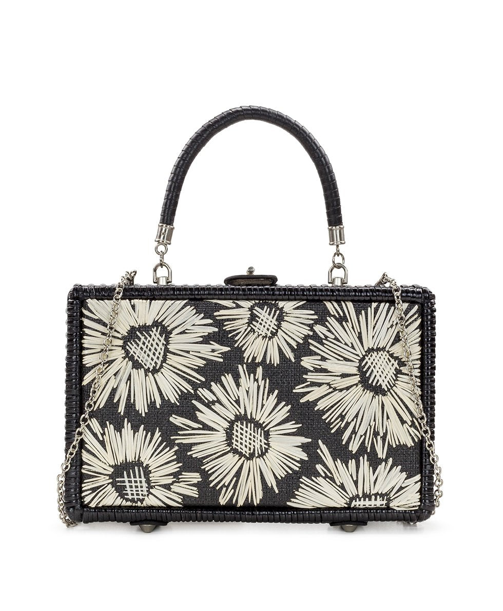 Lamezia Wicker Box Bag - Black with Straw Flowers