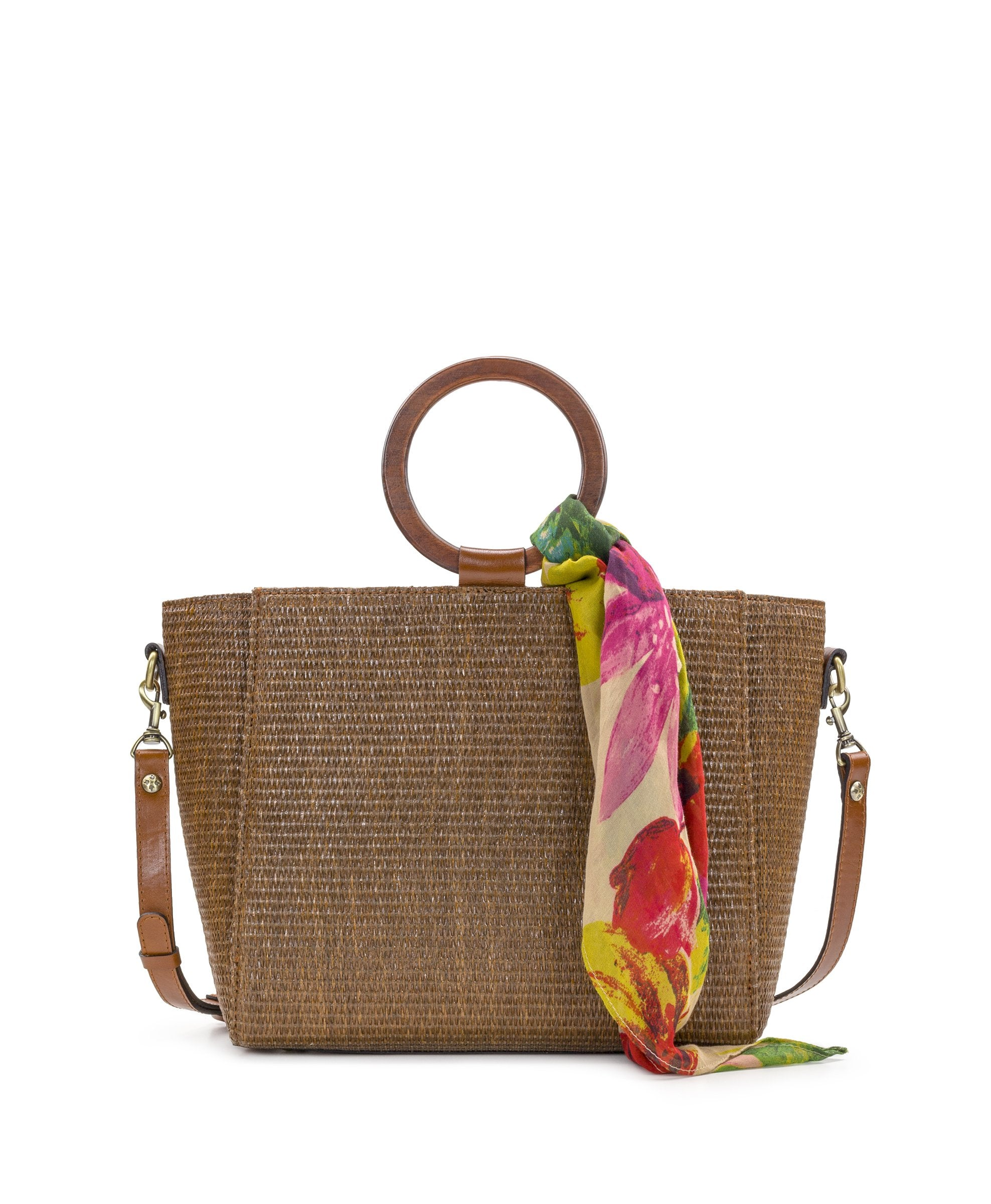 Mariola - Raffia Tobacco with Spring Multi Scarf