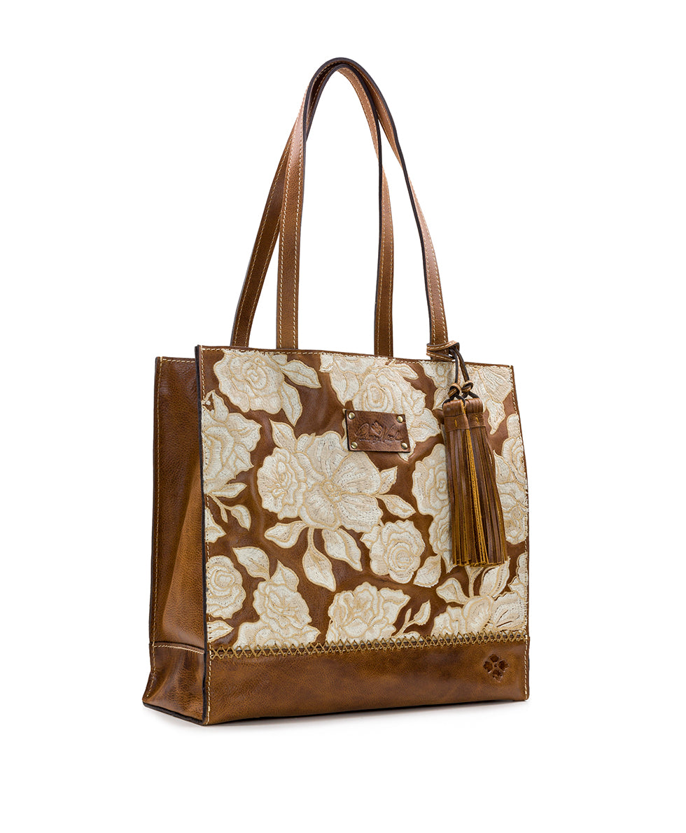 Toscano Tote - Tonal Natural Embroidery 3