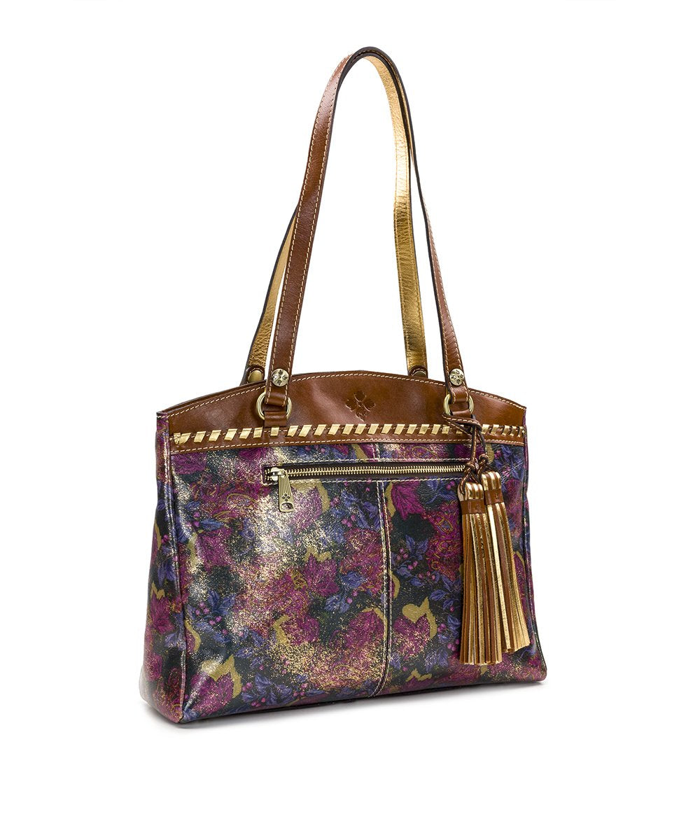 Poppy Tote - Metallic Dusted Paisley 3