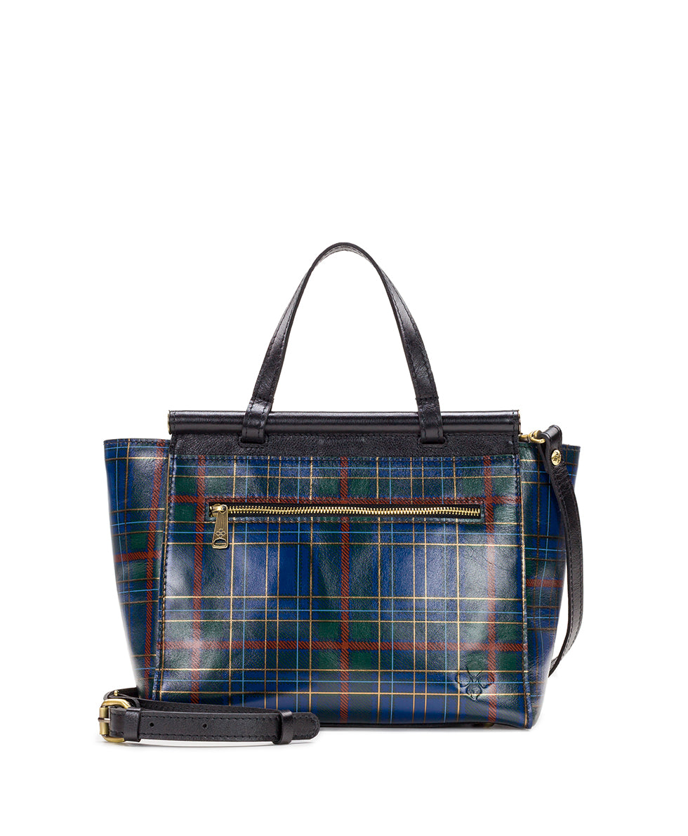 Viviani Satchel - Blue Green Tartan Plaid