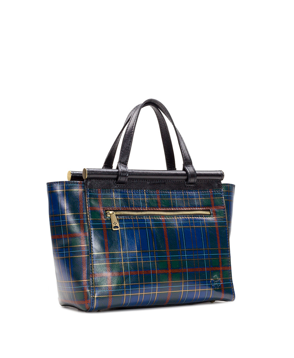 Viviani Satchel - Blue Green Tartan Plaid 3