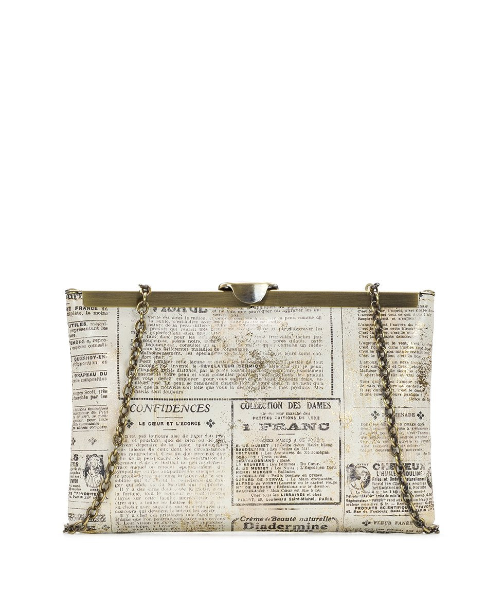 Asher Frame Clutch - Newspaper