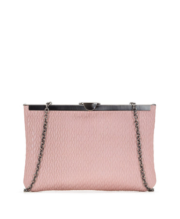 Asher Expanded Metal Frame Clutch - Twisted Woven Embossed