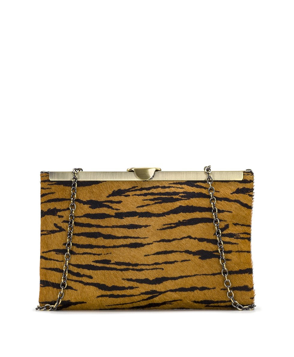 Asher Frame Clutch - Tiger Haircalf