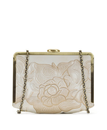 Cariati Metal Clutch - White Waxed Tooled