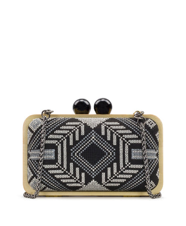 Nola Wood Box Clutch - Black