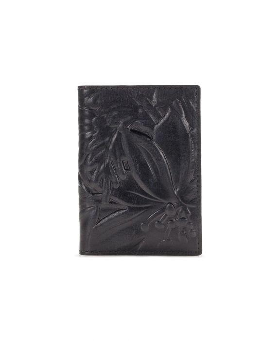 Peretola Passport Sleeve - Floral Deboss - Black