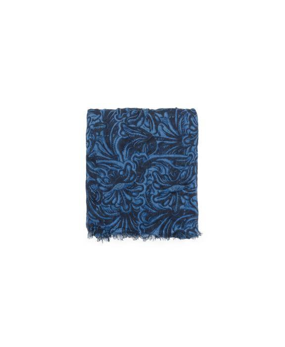 Scarf - Tooled Indigo 2